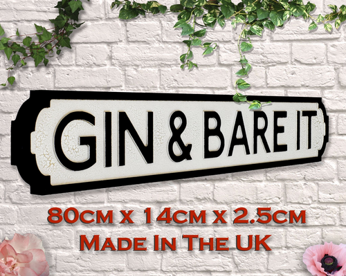 Gin & Bare It Vintage Road Sign / Street Sign